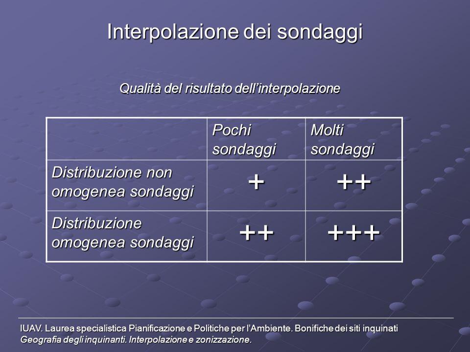Interpolazione dei sondaggi IUAV.Laurea specialistica Pianificazione e Politiche per lAmbiente.
