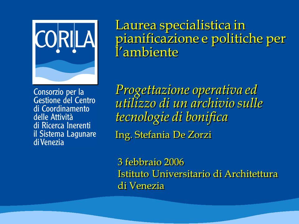 Laurea specialistica in pianificazione e politiche per lambiente Progettazione operativa ed utilizzo di un archivio sulle tecnologie di bonifica Ing.