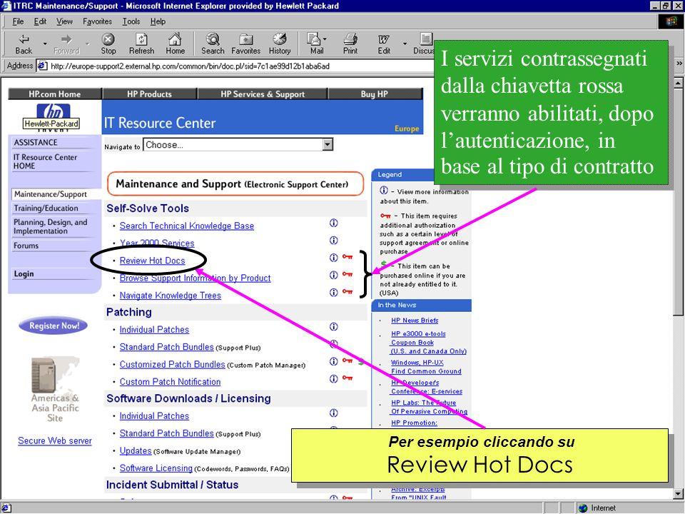 Customer Support Research & Development Per esempio cliccando su Review Hot Docs I servizi contrassegnati dalla chiavetta rossa verranno abilitati, dopo lautenticazione, in base al tipo di contratto
