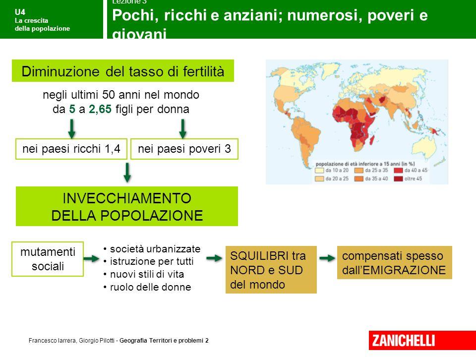 U4 La crescita della popolazione Francesco Iarrera, Giorgio Pilotti - Geografia Territori e problemi 2 Le grandi regioni di popolamento 4/5 di popolazione su un 1/5 terre emerse in EUROPA per es.