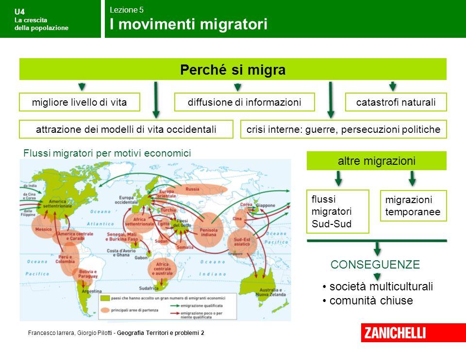 U4 La crescita della popolazione Francesco Iarrera, Giorgio Pilotti - Geografia Territori e problemi 2 Flussi migratori per motivi economici società m