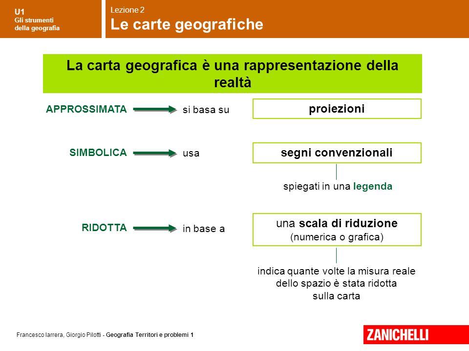 U1 Gli strumenti della geografia Francesco Iarrera, Giorgio Pilotti - Geografia Territori e problemi 1 proiezioni APPROSSIMATA SIMBOLICA RIDOTTA si ba