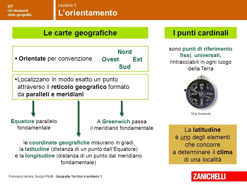 U1 Gli strumenti della geografia Francesco Iarrera, Giorgio Pilotti - Geografia Territori e problemi 1 sono punti di riferimento fissi, universali, ri
