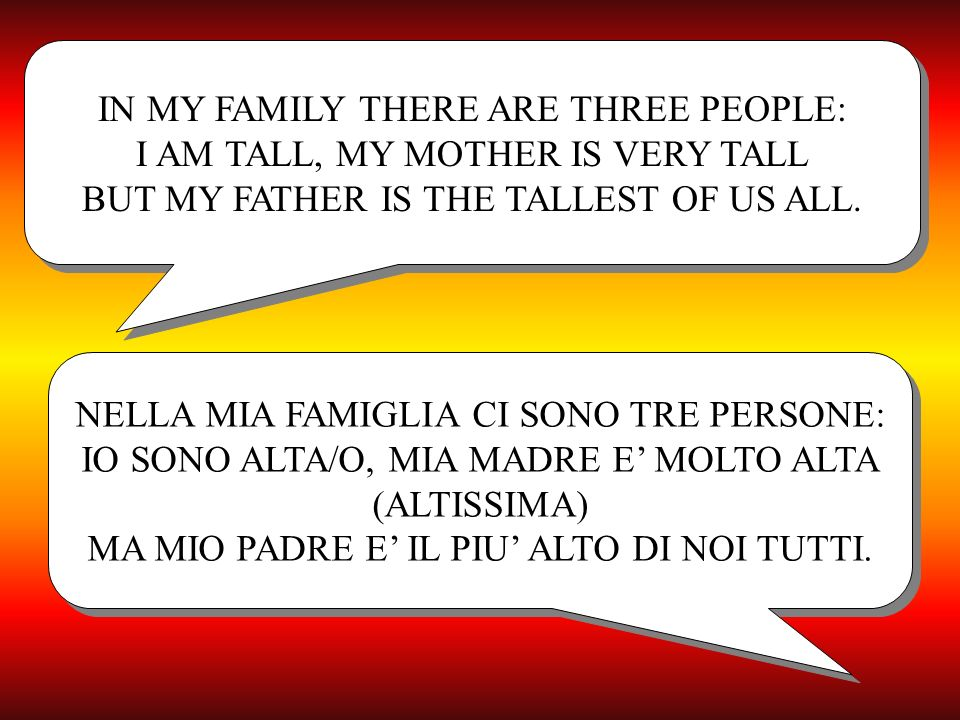 IN MY FAMILY THERE ARE THREE PEOPLE: I AM TALL, MY MOTHER IS VERY TALL BUT MY FATHER IS THE TALLEST OF US ALL.