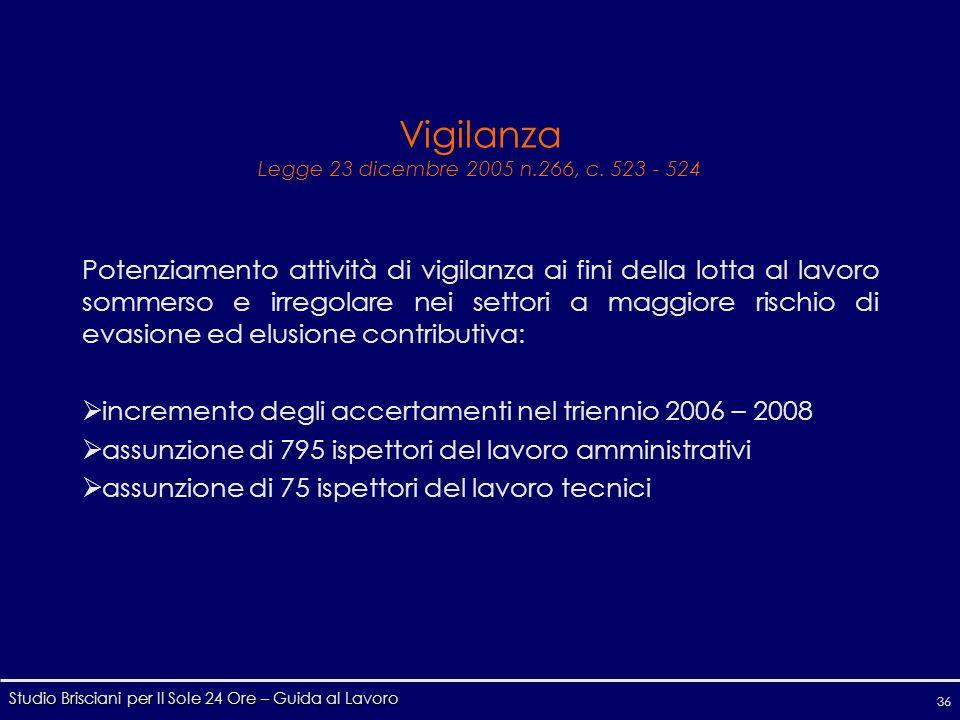 Studio Brisciani per Il Sole 24 Ore – Guida al Lavoro 36 Vigilanza Legge 23 dicembre 2005 n.266, c.