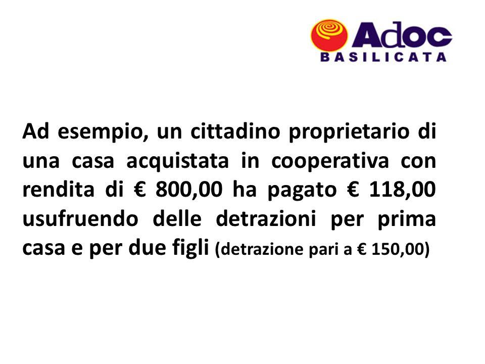 Ad esempio, un cittadino proprietario di una casa acquistata in cooperativa con rendita di 800,00 ha pagato 118,00 usufruendo delle detrazioni per pri
