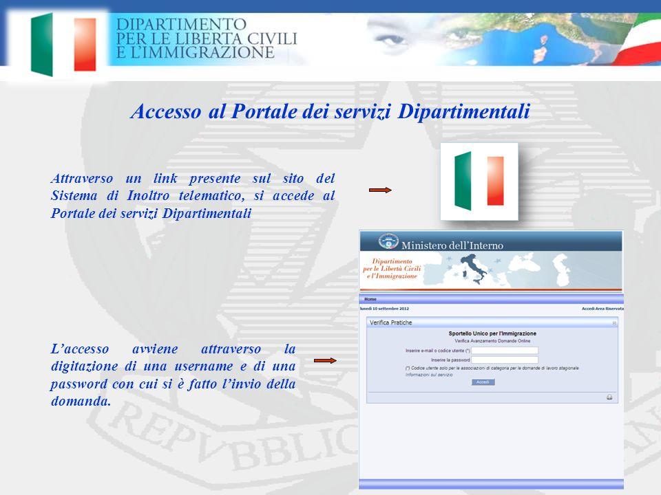 Accesso al Portale dei servizi Dipartimentali Laccesso avviene attraverso la digitazione di una username e di una password con cui si è fatto linvio della domanda.