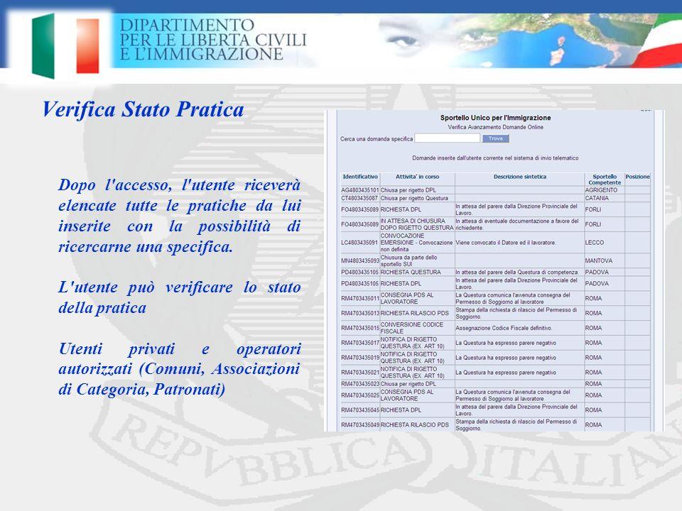 Verifica Stato Pratica Dopo l accesso, l utente riceverà elencate tutte le pratiche da lui inserite con la possibilità di ricercarne una specifica.