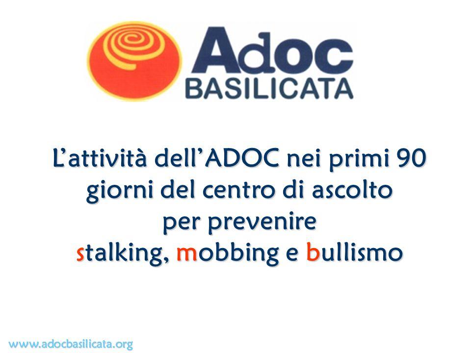 Lattività dellADOC nei primi 90 giorni del centro di ascolto per prevenire stalking, mobbing e bullismo www.adocbasilicata.org