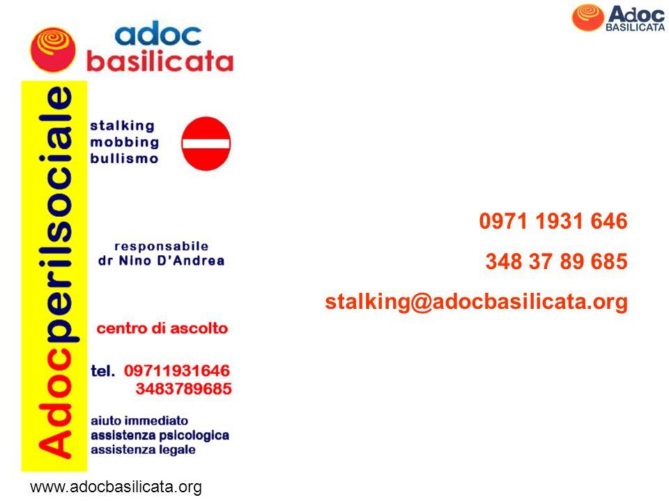 www.adocbasilicata.org 0971 1931 646 348 37 89 685 stalking@adocbasilicata.org I dati