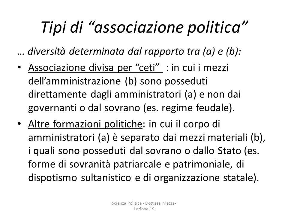 Tipi di associazione politica … diversità determinata dal rapporto tra (a) e (b): Associazione divisa per ceti : in cui i mezzi dellamministrazione (b