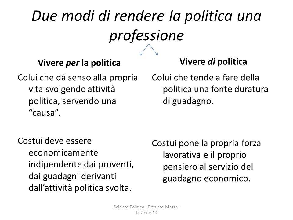 Due modi di rendere la politica una professione Vivere per la politica Colui che dà senso alla propria vita svolgendo attività politica, servendo una