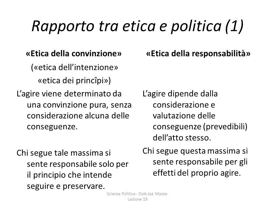 Rapporto tra etica e politica (1) («etica dellintenzione» «etica dei princîpi») Lagire viene determinato da una convinzione pura, senza considerazione