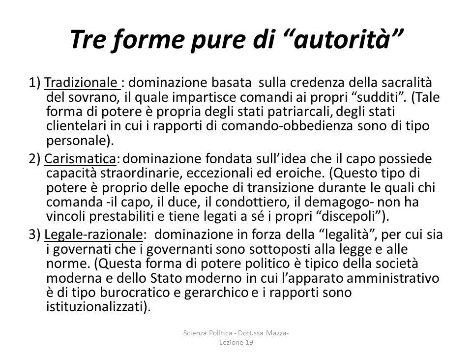 Tre forme pure di autorità 1) Tradizionale : dominazione basata sulla credenza della sacralità del sovrano, il quale impartisce comandi ai propri sudd