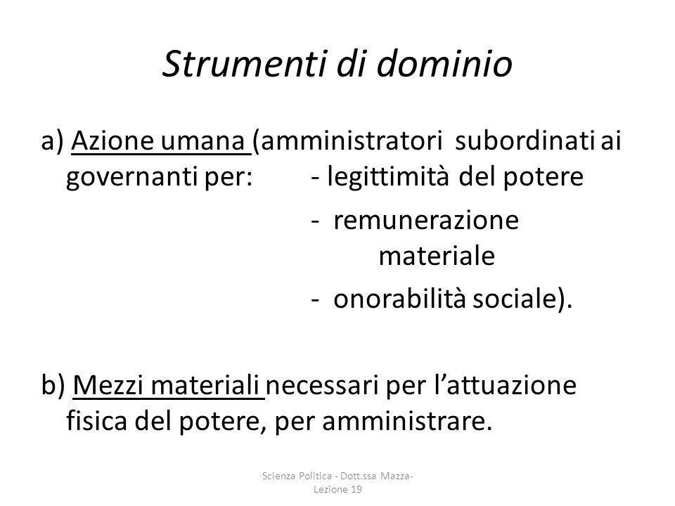 Strumenti di dominio a) Azione umana (amministratori subordinati ai governanti per: - legittimità del potere - remunerazione materiale - onorabilità s