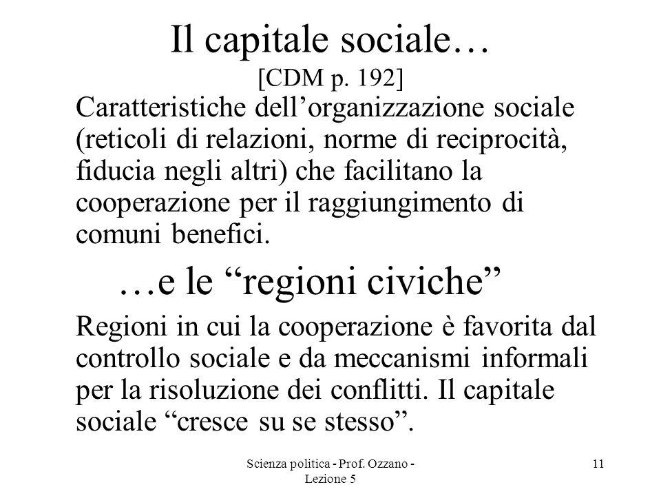 Scienza politica - Prof. Ozzano - Lezione 5 11 Il capitale sociale… [CDM p. 192] Caratteristiche dellorganizzazione sociale (reticoli di relazioni, no
