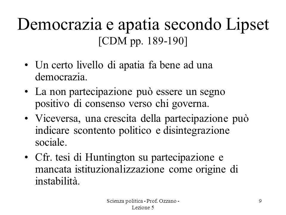 Scienza politica - Prof. Ozzano - Lezione 5 9 Democrazia e apatia secondo Lipset [CDM pp. 189-190] Un certo livello di apatia fa bene ad una democrazi