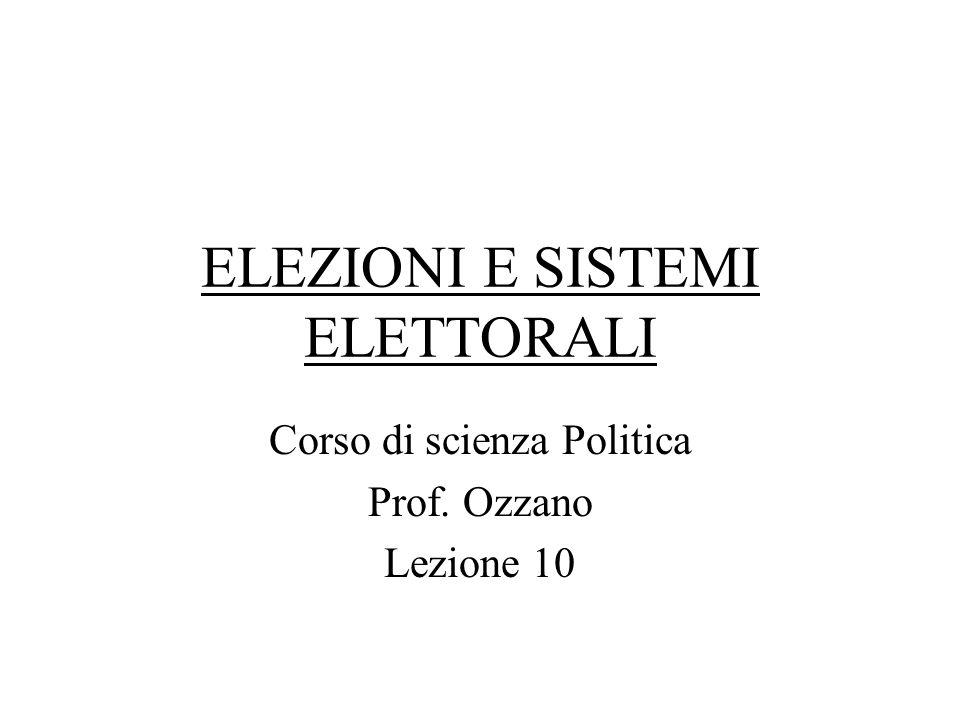 ELEZIONI E SISTEMI ELETTORALI Corso di scienza Politica Prof. Ozzano Lezione 10