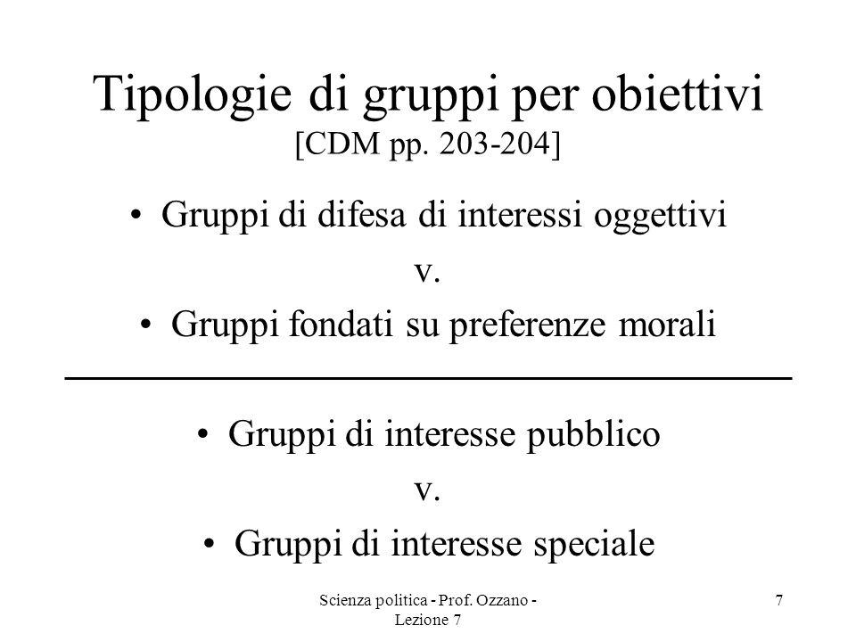 Scienza politica - Prof. Ozzano - Lezione 7 7 Tipologie di gruppi per obiettivi [CDM pp. 203-204] Gruppi di difesa di interessi oggettivi v. Gruppi fo