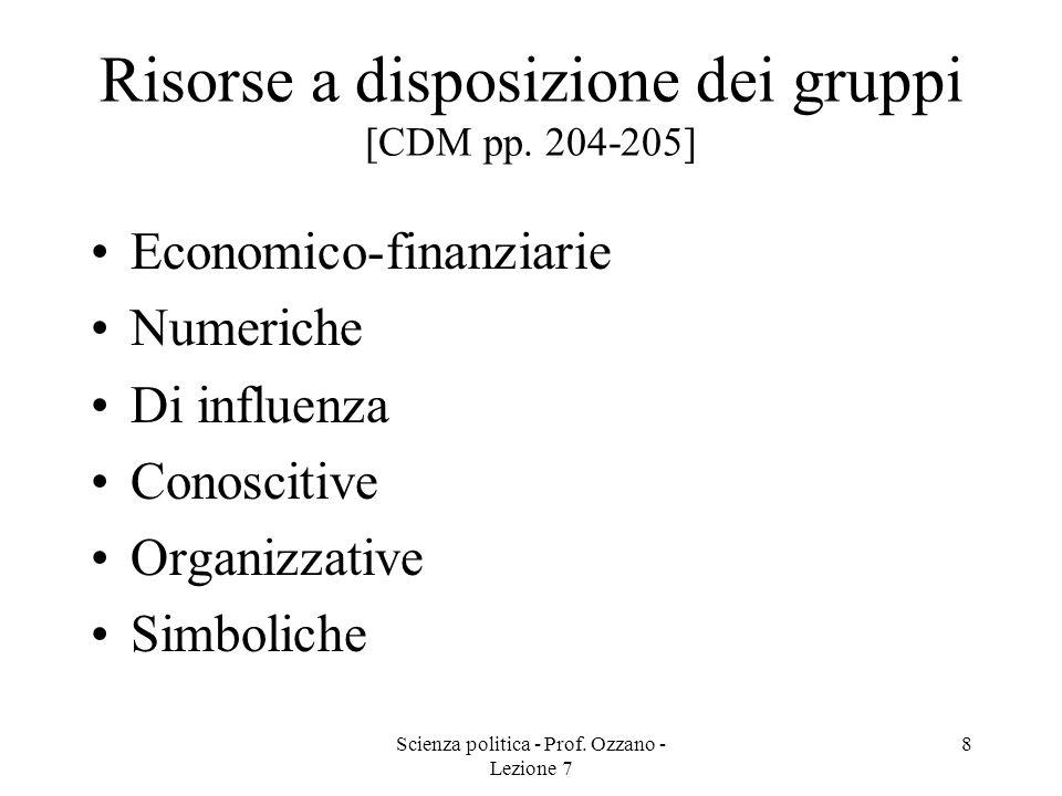 Scienza politica - Prof. Ozzano - Lezione 7 8 Risorse a disposizione dei gruppi [CDM pp. 204-205] Economico-finanziarie Numeriche Di influenza Conosci