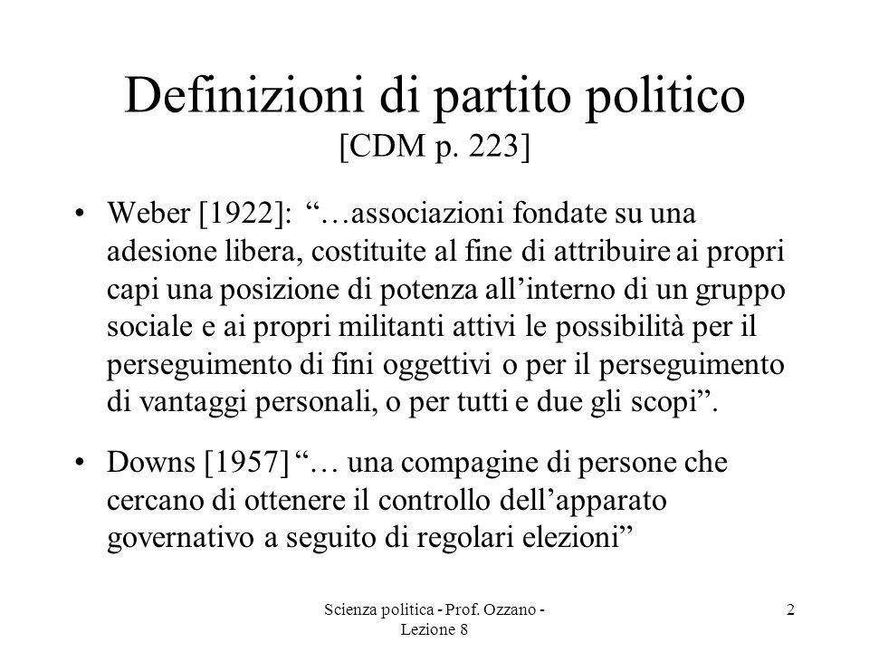 PARTITI POLITICI (I) Corso di scienza Politica Prof. Ozzano Lezione 8