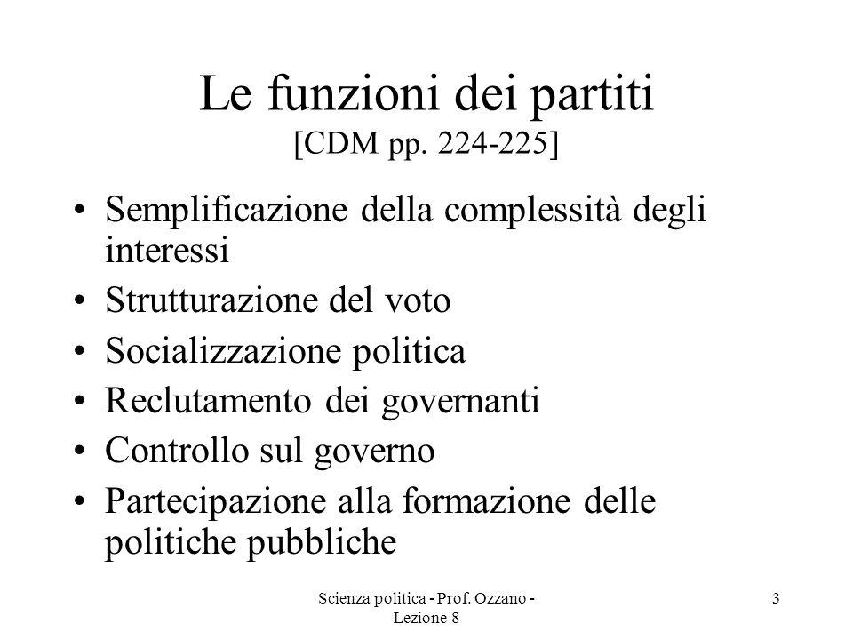 Scienza politica - Prof. Ozzano - Lezione 8 2 Definizioni di partito politico [CDM p. 223] Weber [1922]: …associazioni fondate su una adesione libera,