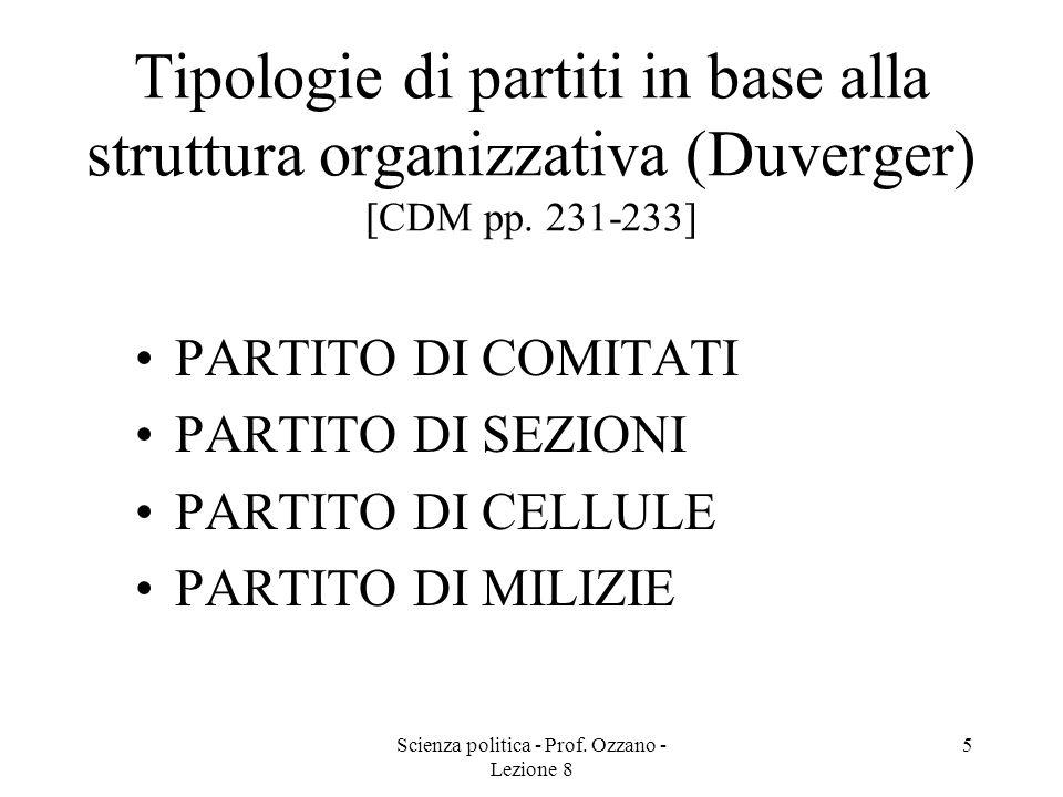 Scienza politica - Prof. Ozzano - Lezione 8 4 La tipologia di Weber [1922] PARTITO DI NOTABILI Personale dotato di risorse autonome Attività saltuaria