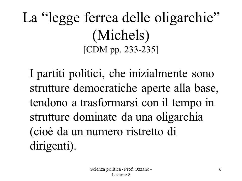 Scienza politica - Prof. Ozzano - Lezione 8 5 Tipologie di partiti in base alla struttura organizzativa (Duverger) [CDM pp. 231-233] PARTITO DI COMITA