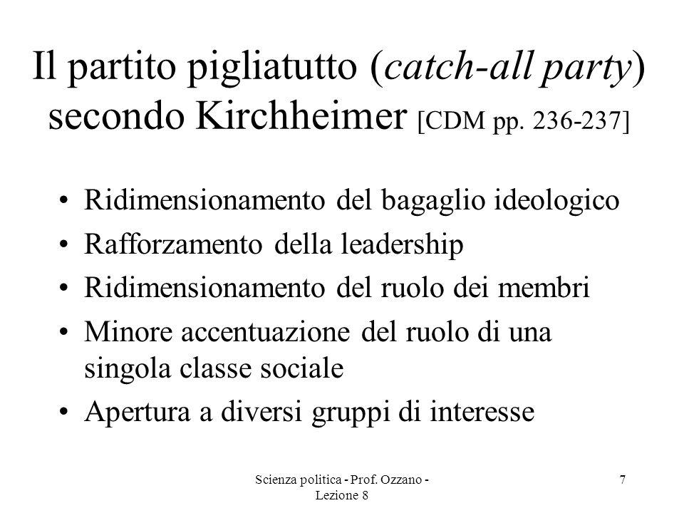Scienza politica - Prof. Ozzano - Lezione 8 6 La legge ferrea delle oligarchie (Michels) [CDM pp. 233-235] I partiti politici, che inizialmente sono s