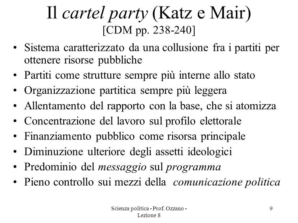 Scienza politica - Prof. Ozzano - Lezione 8 8 Il partito professionale-elettorale (Panebianco) [CDM pp. 237-238] Centralità della burocrazia Partito d