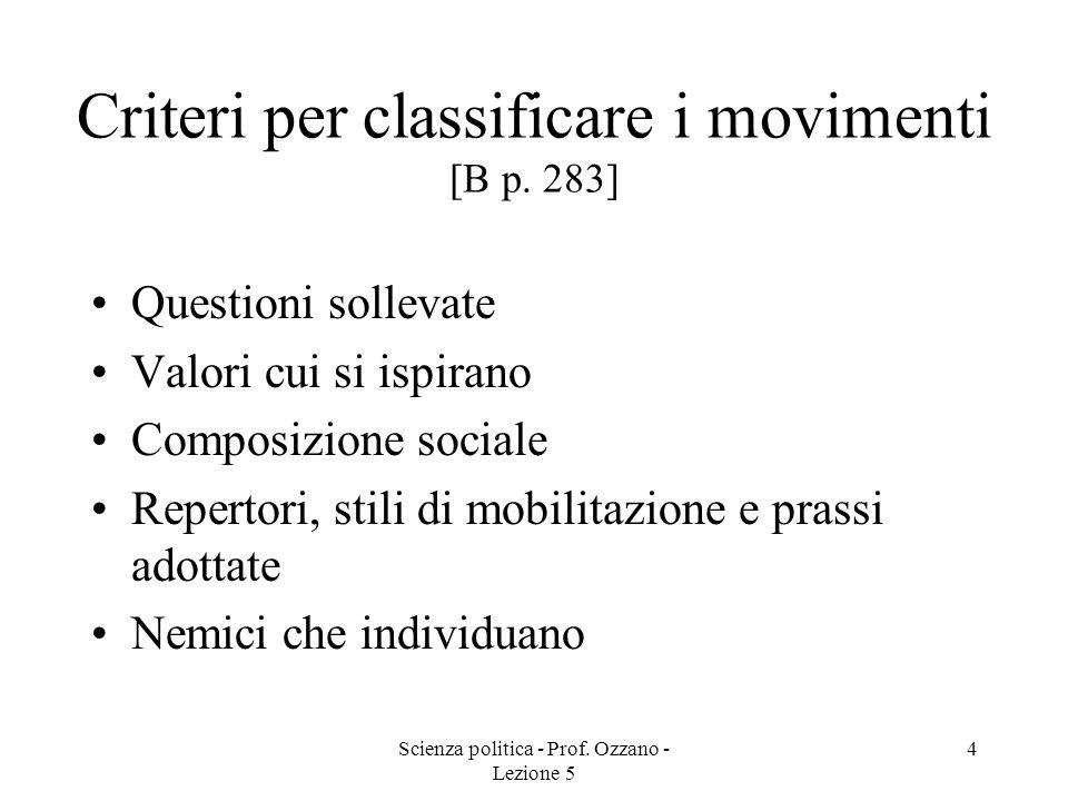Scienza politica - Prof. Ozzano - Lezione 5 4 Criteri per classificare i movimenti [B p. 283] Questioni sollevate Valori cui si ispirano Composizione