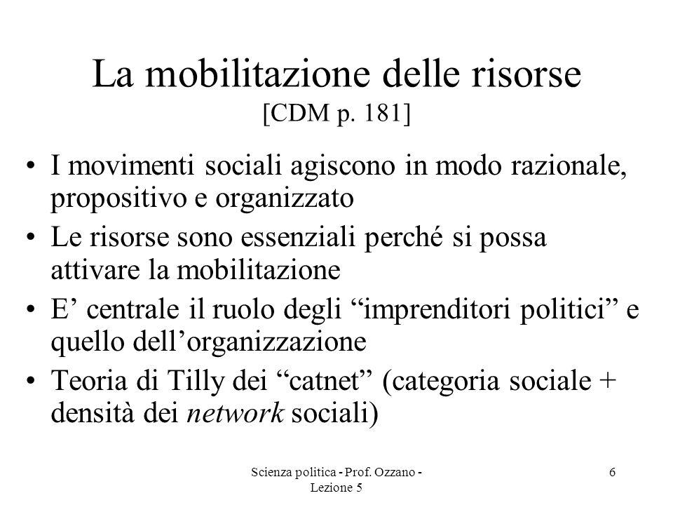 Scienza politica - Prof. Ozzano - Lezione 5 6 La mobilitazione delle risorse [CDM p. 181] I movimenti sociali agiscono in modo razionale, propositivo