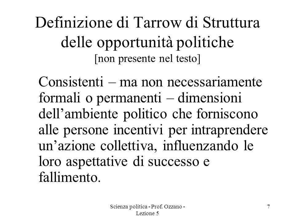 Scienza politica - Prof. Ozzano - Lezione 5 7 Definizione di Tarrow di Struttura delle opportunità politiche [non presente nel testo] Consistenti – ma