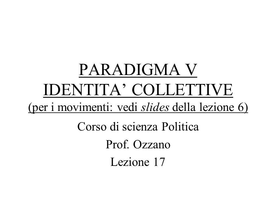 PARADIGMA V IDENTITA COLLETTIVE (per i movimenti: vedi slides della lezione 6) Corso di scienza Politica Prof. Ozzano Lezione 17