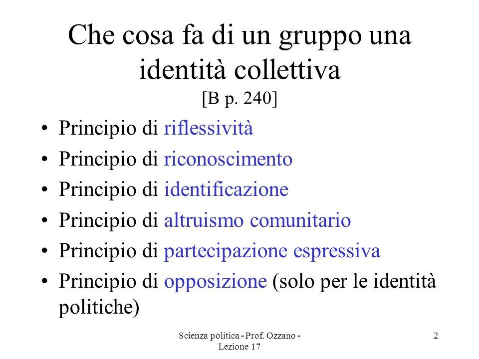 Scienza politica - Prof. Ozzano - Lezione 17 2 Che cosa fa di un gruppo una identità collettiva [B p. 240] Principio di riflessività Principio di rico
