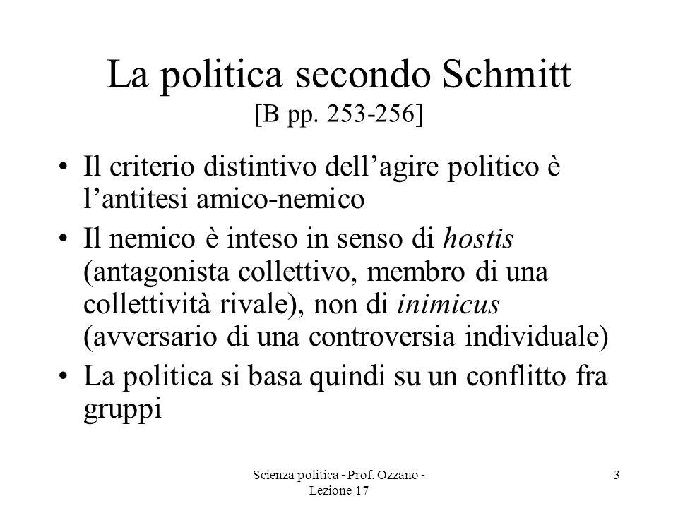 Scienza politica - Prof. Ozzano - Lezione 17 3 La politica secondo Schmitt [B pp. 253-256] Il criterio distintivo dellagire politico è lantitesi amico