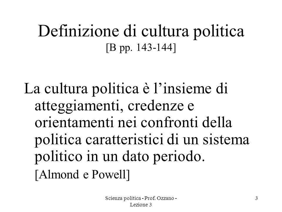 Scienza politica - Prof.Ozzano - Lezione 3 4 Componenti della cultura politica [B pp.