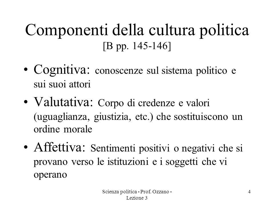 Scienza politica - Prof.Ozzano - Lezione 3 5 3 tipi di cultura politica [B p.