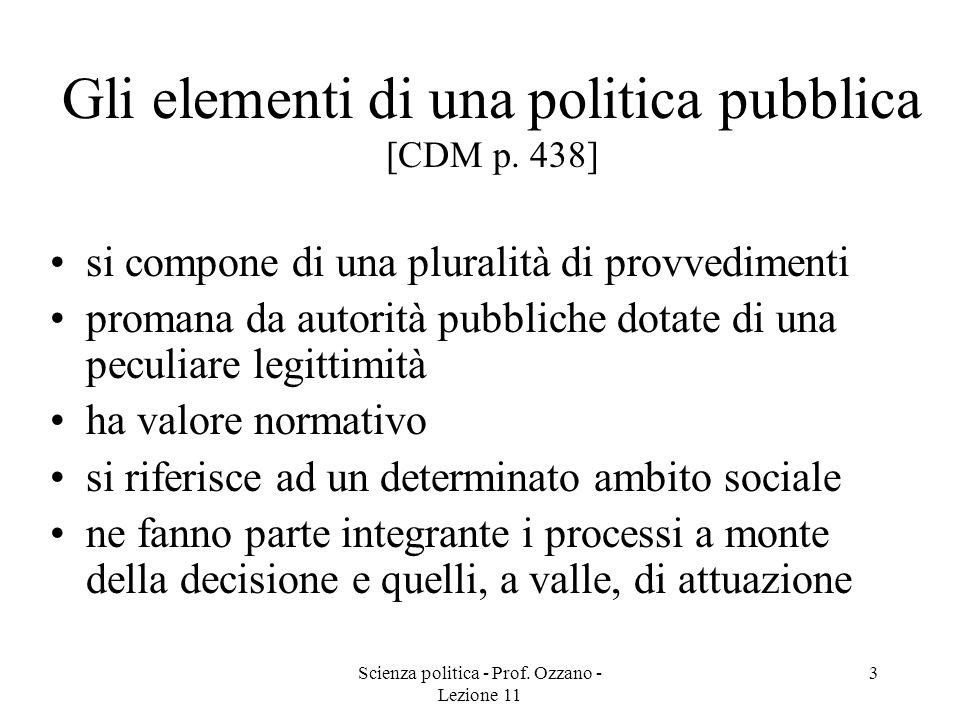 Scienza politica - Prof. Ozzano - Lezione 11 3 Gli elementi di una politica pubblica [CDM p. 438] si compone di una pluralità di provvedimenti promana