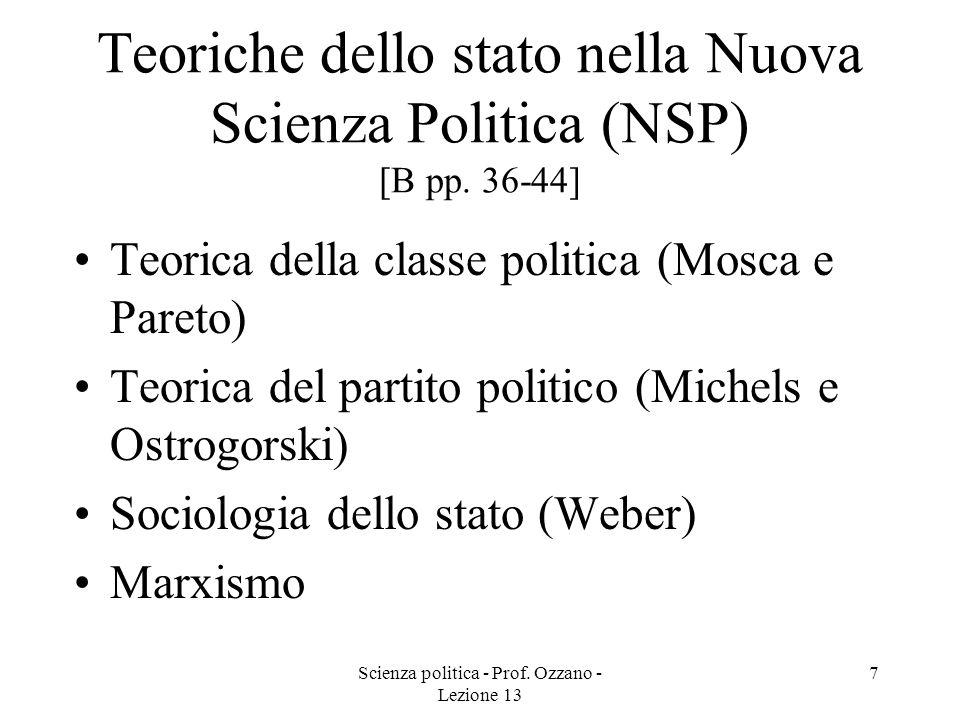 Scienza politica - Prof. Ozzano - Lezione 13 7 Teoriche dello stato nella Nuova Scienza Politica (NSP) [B pp. 36-44] Teorica della classe politica (Mo