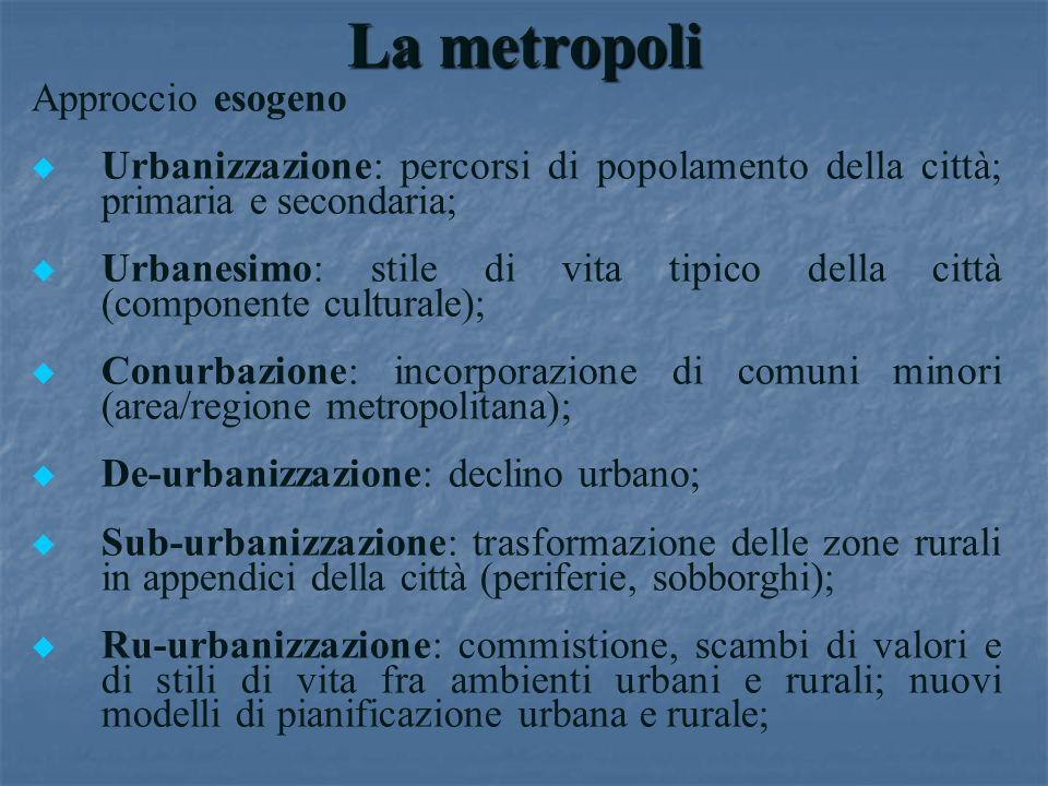 La metropoli Approccio esogeno u u Urbanizzazione: percorsi di popolamento della città; primaria e secondaria; u u Urbanesimo: stile di vita tipico de