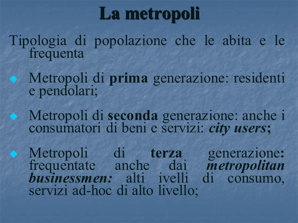 La metropoli Tipologia di popolazione che le abita e le frequenta u u Metropoli di prima generazione: residenti e pendolari; u u Metropoli di seconda