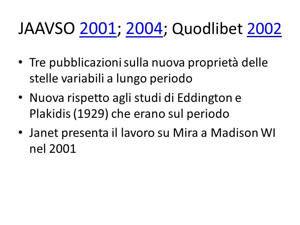 JAAVSO 2001; 2004; Quodlibet 2002200120042002 Tre pubblicazioni sulla nuova proprietà delle stelle variabili a lungo periodo Nuova rispetto agli studi di Eddington e Plakidis (1929) che erano sul periodo Janet presenta il lavoro su Mira a Madison WI nel 2001