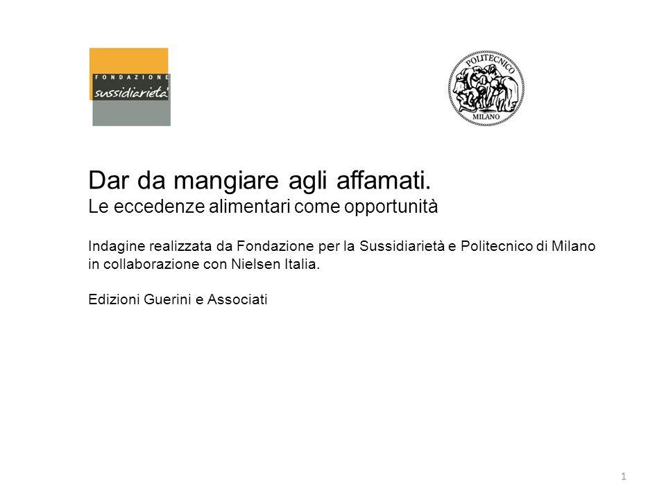 Dar da mangiare agli affamati. Le eccedenze alimentari come opportunità Indagine realizzata da Fondazione per la Sussidiarietà e Politecnico di Milano