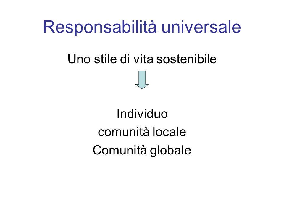 Responsabilità universale Uno stile di vita sostenibile Individuo comunità locale Comunità globale
