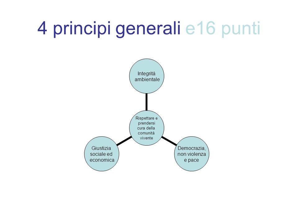 4 principi generali e16 punti Rispettare e prendersi cura della comunità vivente Integrità ambientale Democrazia, non violenza e pace Giustizia social