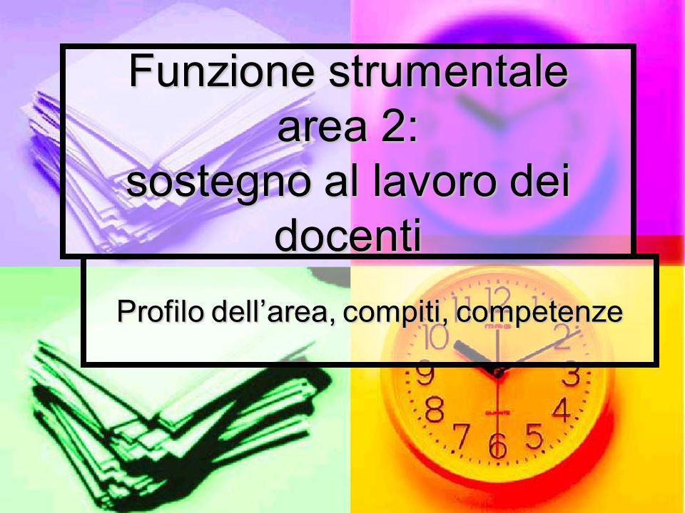 Funzione strumentale area 2: sostegno al lavoro dei docenti Profilo dellarea, compiti, competenze