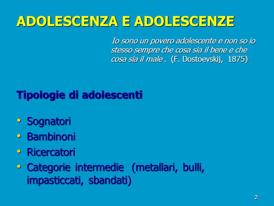 2 ADOLESCENZA E ADOLESCENZE Io sono un povero adolescente e non so io stesso sempre che cosa sia il bene e che cosa sia il male. (F. Dostoevskij, 1875