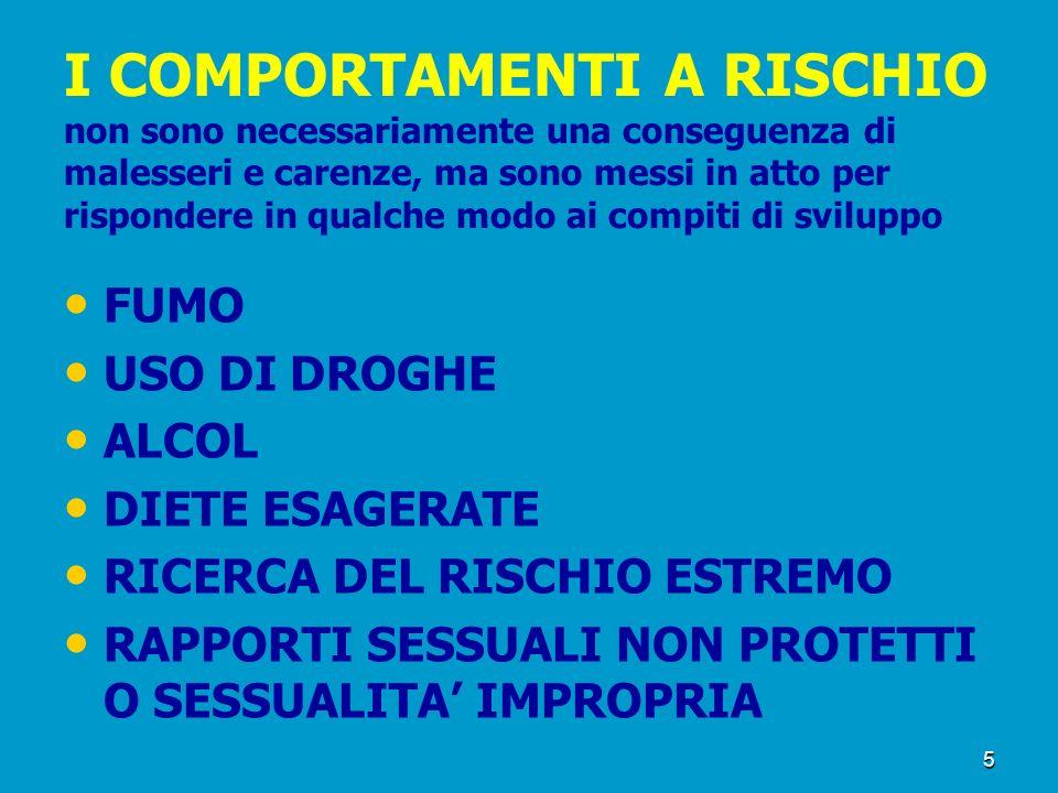 5 I COMPORTAMENTI A RISCHIO non sono necessariamente una conseguenza di malesseri e carenze, ma sono messi in atto per rispondere in qualche modo ai c