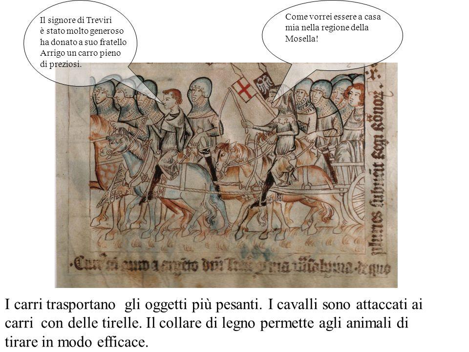 Il re e la regina scendono il Moncenisio e si dirigono a Susa. Siamo scesi dai cavalli perché le zampe scivolano su questa discesa ripida. Come sono s